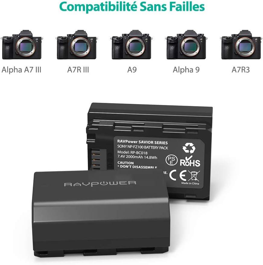 2-Pack et Chargeur Double Intelligent LED USB pour Sony Alpha 9 Mis /à Niveau NP-FZ100 ENEGON Batterie de Rechange Sony A7R3 A7R4 Sony A9R Sony a7 III Cam/éras Num/ériques Sony Alpha 9S