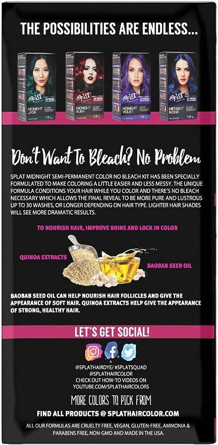 SplatSplat - Kit completo de medianoche, tinte para el cabello, semipermanente, de larga duración, vegano y sin crueldad, , , rosado, (Midnight ...