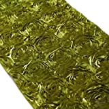 Koyal 15 by 116-Inch Satin Rose Embroidered Table Runner, Olive Green by Koyal