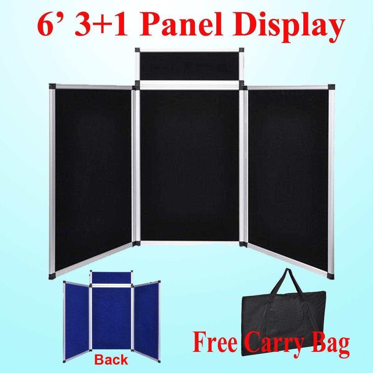 DSM Tm 6' 3+1 Hoop and Loop Black / Blue 2 Side Panel Header Trade Show Display Presentation Tabletop 6ft 3 Panel Folding