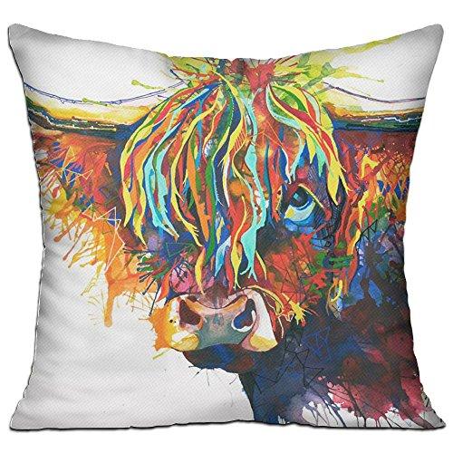 Highland Cow Art Throw Pillow Home Pillow Cushion Pillow Case Compact Pillow 18 X 18 Inches