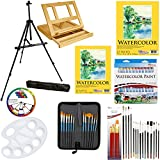 US Art Supply 69-Piece Watercolor Paint Set with Aluminum Easel, Wood Table ...