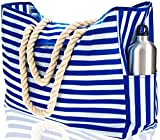 Beach Bag XL with 100% Waterproof Phone Case, Top Magnet Clasp, Cotton Rope Handles, Two Outside Pockets. Blue Stripe Beach Tote has Built-In Key Holder, Bottle Opener. L22″xH15″xW6″. Ripstop Oxford
