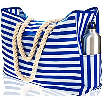 "Beach Bag XL with 100% Waterproof Phone Case, Top Magnet Clasp, Cotton Rope Handles, Two Outside Pockets. Blue Stripe Beach Tote has Built-In Key Holder, Bottle Opener. L22""xH15""xW6"". Ripstop Oxford"