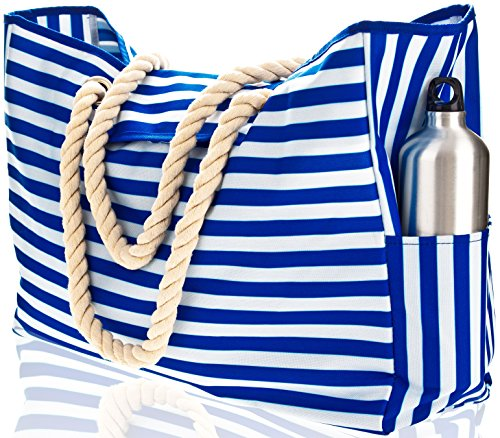 Stripe Beach Tote - Beach Bag XXL (HUGE). 100% Waterproof. L22