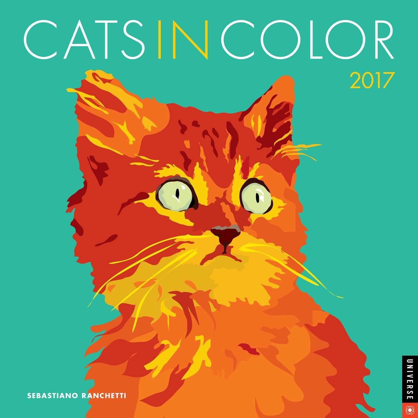 Cats in Color 2017 Wall Calendar