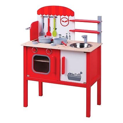 ColorBaby - Cocina madera roja con accesorios - 59 x 33 x 78 cm (85097)