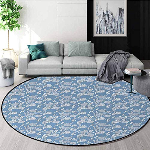 Blue And White Modern Machine Washable Round Bath Mat,Artistic Illustration Flourishing Garden Flowers Pattern In Vintage Style Non-Slip Living Room Soft Floor Mat Round-59 Inch,Blue White from DESPKON-HOME