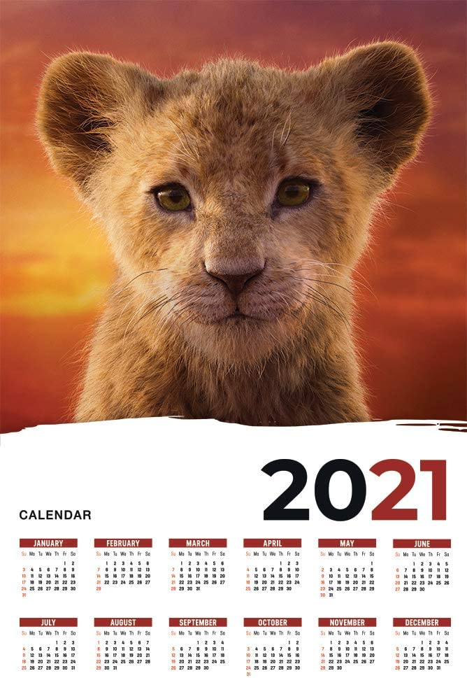 The Lion King Calendar 2021 Movie Poster Wall Decor - 17'' X 25''
