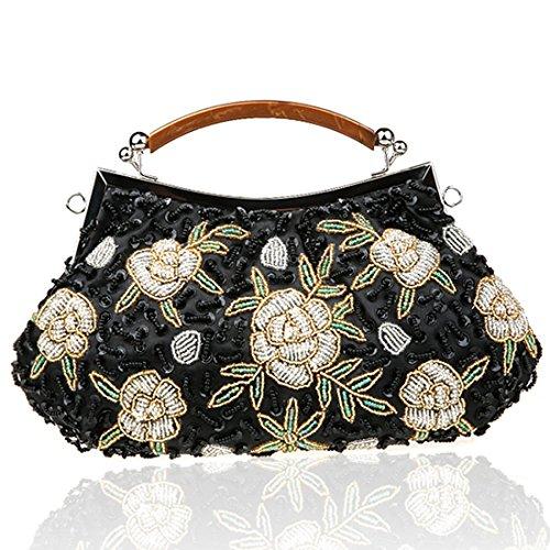YYW Vintage Clutch Bag - Cartera de mano para mujer Black3