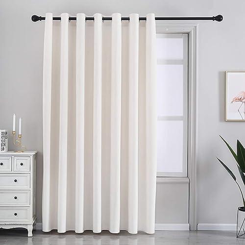 SPXTEX Cream White Velvet Curtains 96 inches Long Sliding Door Curtain