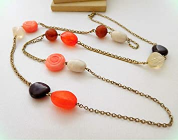 Pink and Peach Color Necklace Beaded Necklace Necklace with Beads Handmade Necklace