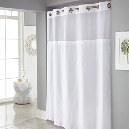 Amazon Hookless Mystery Shower Curtain With Its A Snap PEVA Liner Included Home Kitchen