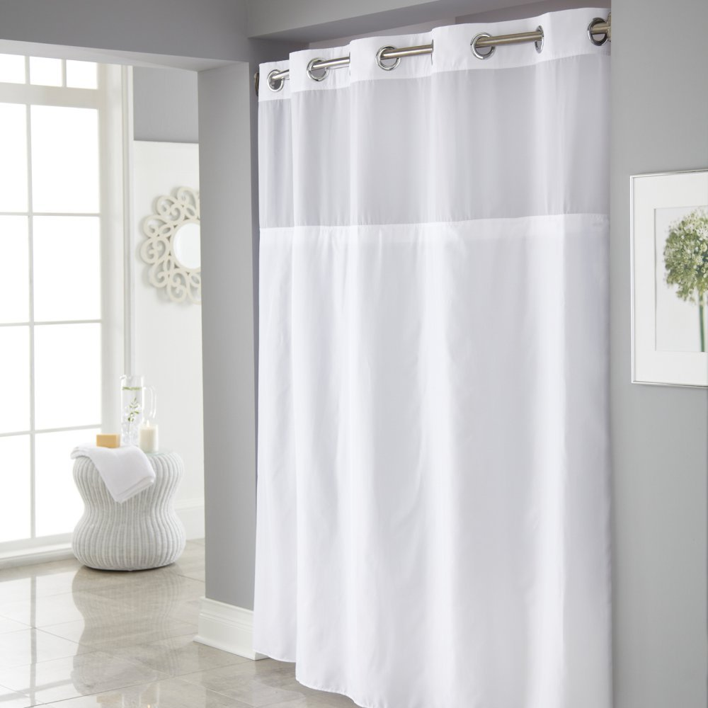 Hookless Mystery Shower Curtain with It's a Snap PEVA Liner Shower Included