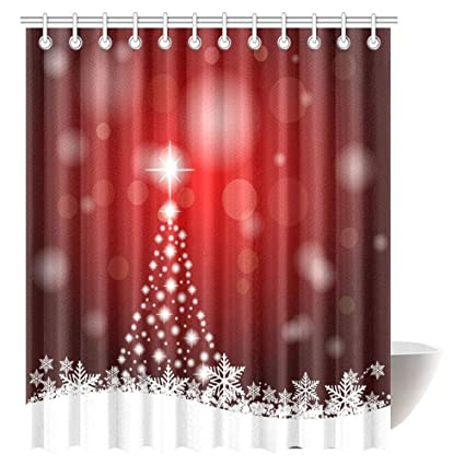 Christmas Decorations Shower Curtain Set Winter Holidays Themed Gingerbread Houses Xmas Tree Lights And Snowflakes Bath