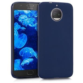 kwmobile Funda compatible con Motorola Moto G5S Plus - Carcasa de [TPU silicona] - Protector [trasero] en [azul oscuro mate]