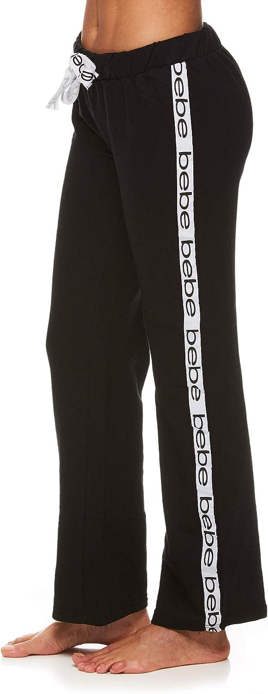 bebe Womens Sport Stripe Long Sleeve Shirt and Pajama Pants Lounge Sleepwear Set