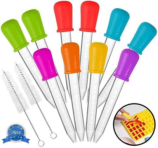 Compra AMZSUPER ERA Cersaty® Pipette de silicona pera punta Liquid Dropper 5 ml 7 colores pipetas para dulces aceite cocina niños Gummy Making – 14 piezas en Amazon.es