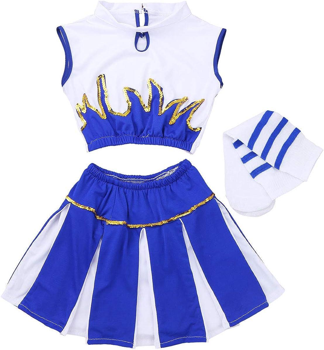 CHICTRY D/éguisement de Pom-Pom Girl Costume /écoliere Haut+avec Jupe+Chaussettes pour Fille avec poup/ée Majorette Dancewear pour Carnaval Coplay soir/ée