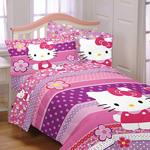 Hello Kitty Twin / Full Size Bedding Comforter - Ditsy Dots - Soft, Warm and Comfortable - Plush Reverse
