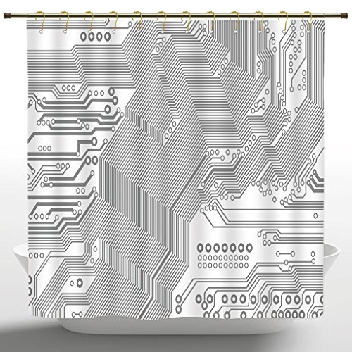 Polyester Shower Curtain by iPrint,Digital,Computer Motherboard Electronic Hardware Technical Display Futuristic Plan Design,Grey White,Bathroom Accessories