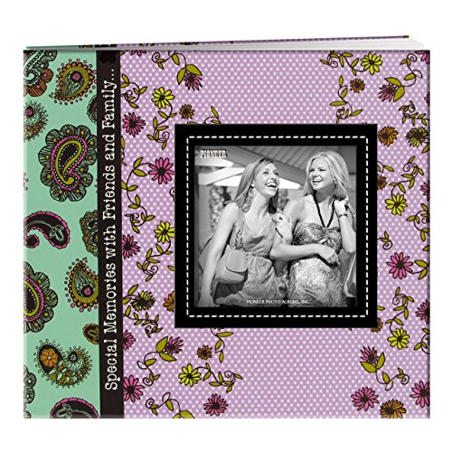 Pioneer Photo Albums 20 Page Designer Printed Raised Frame Paisley Cover Scrapbook for 8 by 8-Inch Pages ()