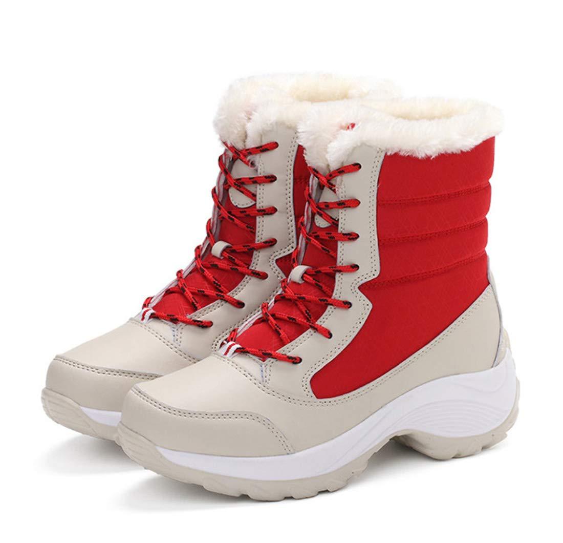 DANDANJIE Damenstiefel Winter Schnee Stiefel Flache Fersen Wanderstiefel Nähen Spitzen Schuhe