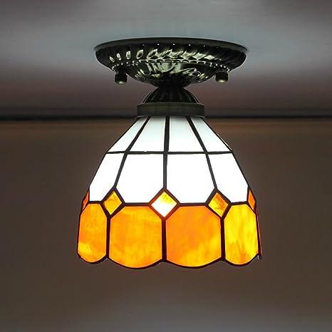 Gweat Tiffany 6 pulgadas Mediterráneo moderno minimalista dormitorio lámparas de techo pasillo Hall de entrada pasillo luces balcón lámpara luces de ...