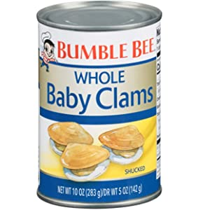 BUMBLE BEE Whole Baby Clams, 10 Ounce Can (Case of 12), Canned Clams, High Protein, Keto Food and Keto Snacks, Gluten Free, Canned Food