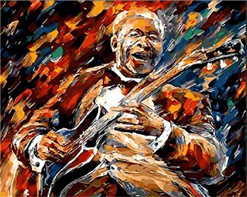 Jiahuade Colorful Jazz Musician Rock Roll Oil Painting Pictures by Numbers Digital Picture Coloring by Hand Unique Gift Home Decoration ()