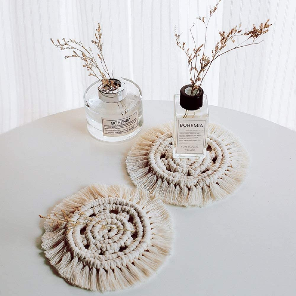 Handmade Coasters for Drinks Macrame Coaster Set,Cotton Braid Macrame Cup Pad Placemat Coffee Drink Beer Cup Mat Boho Table Decor Mugs and Cups White