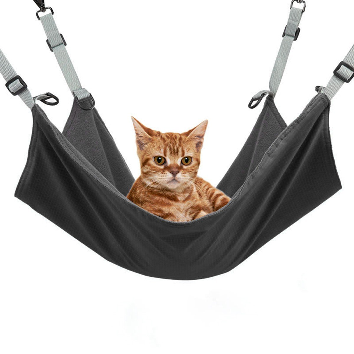 Cat Hammock Bed, Zuoao Hanging kitten Hammock Pad Best for Crate Cage Chair for Kitten Puppy Bunny or Pet Rat (Black)