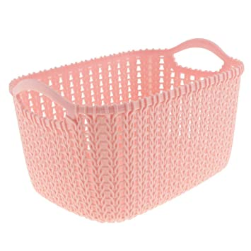 Plastic Storage Basket Small Large Knitted Rattan Laundry Washing Clothes Hamper