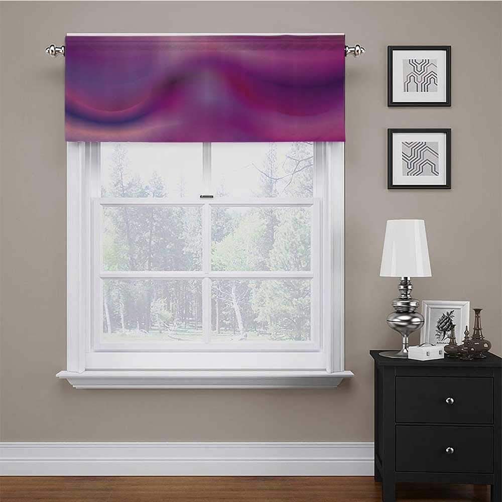 Windows Brown Fuchsia Marigold 42 x 18 Inch Curtain Valance Tropical Sunset in Retro Watercolor Style Palm Trees on the Beach Image Thermal Insulated Window Curtain Valance Rod Pocket for Basement