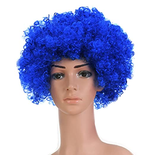 Monique Women Crazy Clown Wig Afro Wig with Light LED Flash Light Hoods Blue a9bc6e7fee
