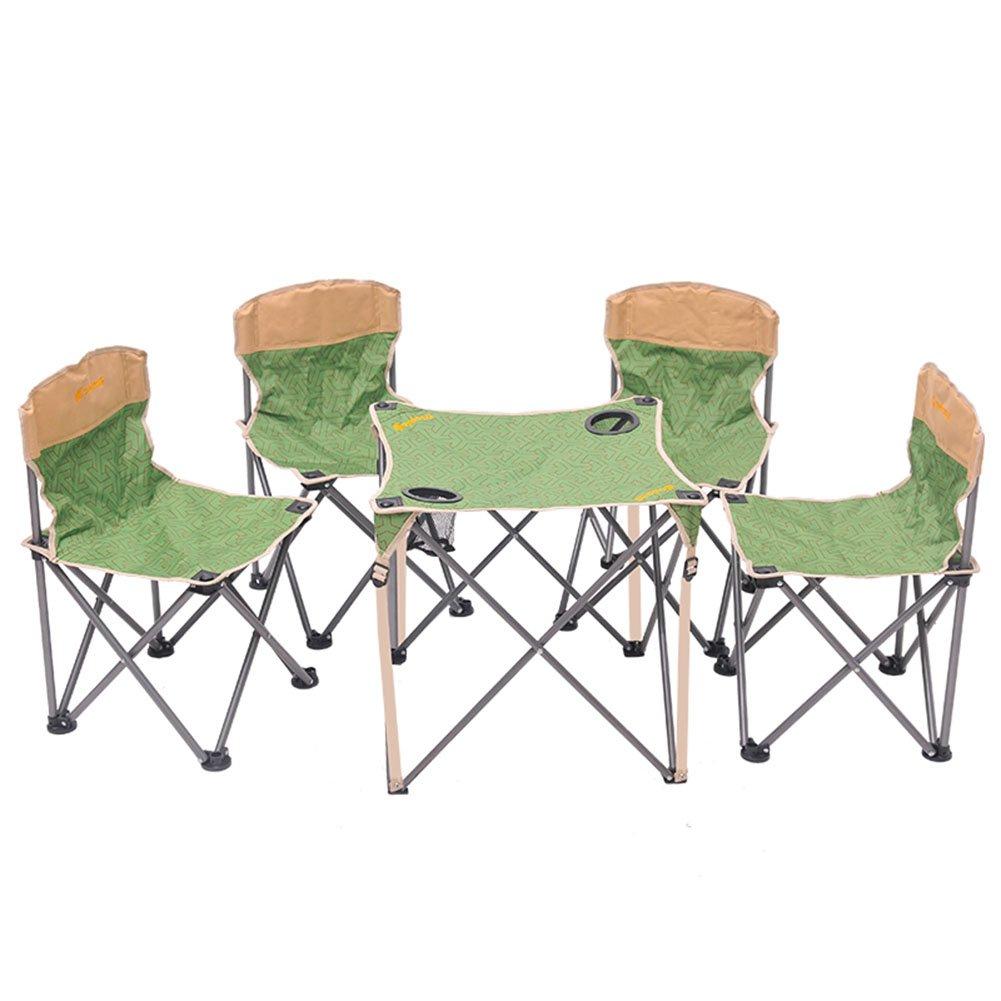 QIANGDA 屋外/アウトドア 折りたたみ テーブル椅子 5セット 鋼管 持ち運びが簡単 強い耐久性 多機能 ハイキング釣り、 2色展開 オプション (色 : 緑) B07CSZ9XKB  緑