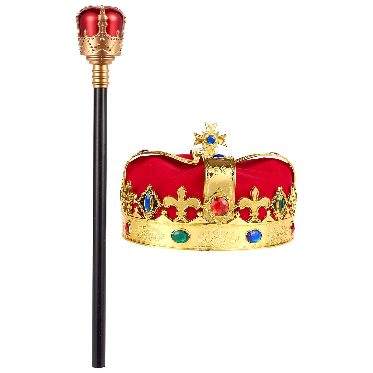 2-Pack Kids King Medieval Crown Imitation Royal Scepter - Prince King Jeweled Crown Boys, King Party, Party Decorations, Gold Red