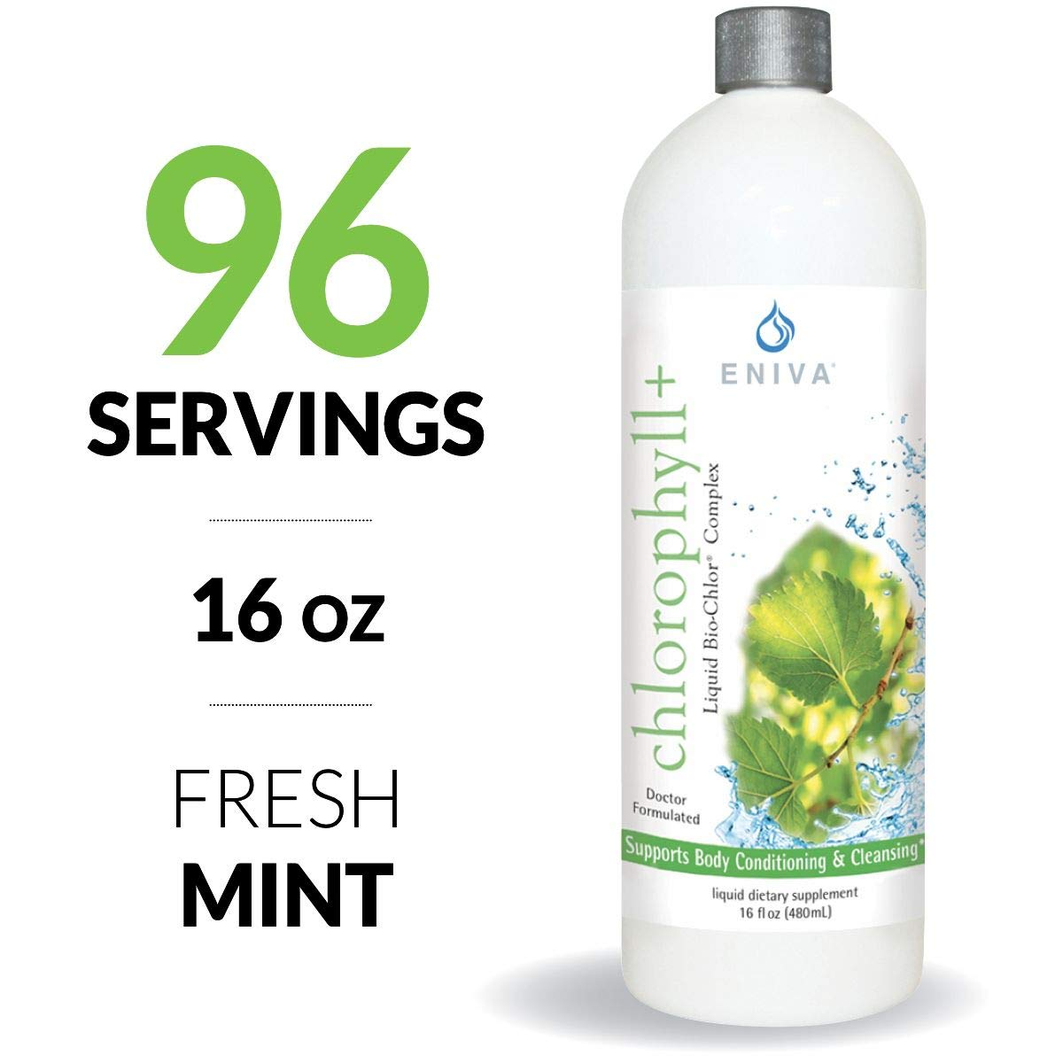 Eniva Liquid Chlorophyll - 16oz. Alcohol Free. Gluten Free. Non GMO. Cold Processed. Paraben Free. Most Complete Formula. Made in USA.