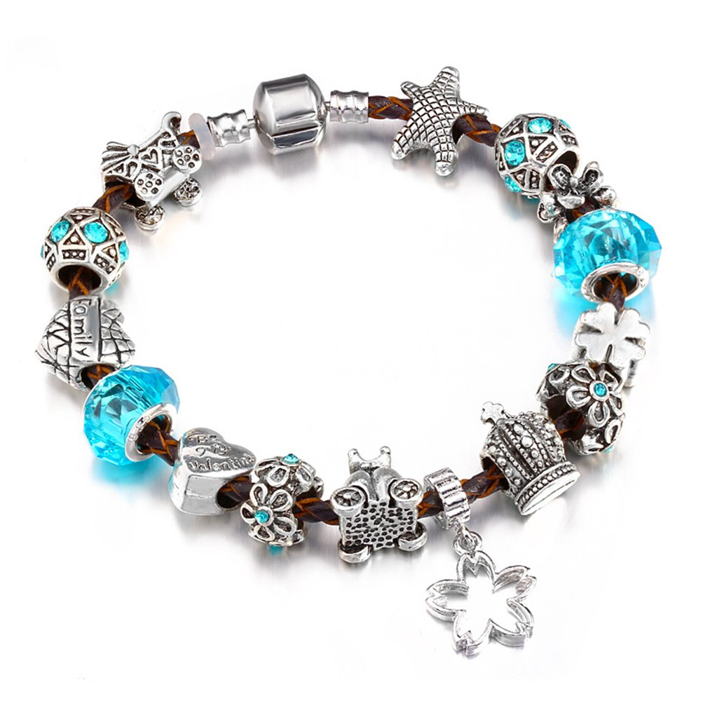 YYcharm Charm Bracelet Starfish Love Heart Family Silver Plated Beads Charm Leather Bracelet Mothers Day Gifts