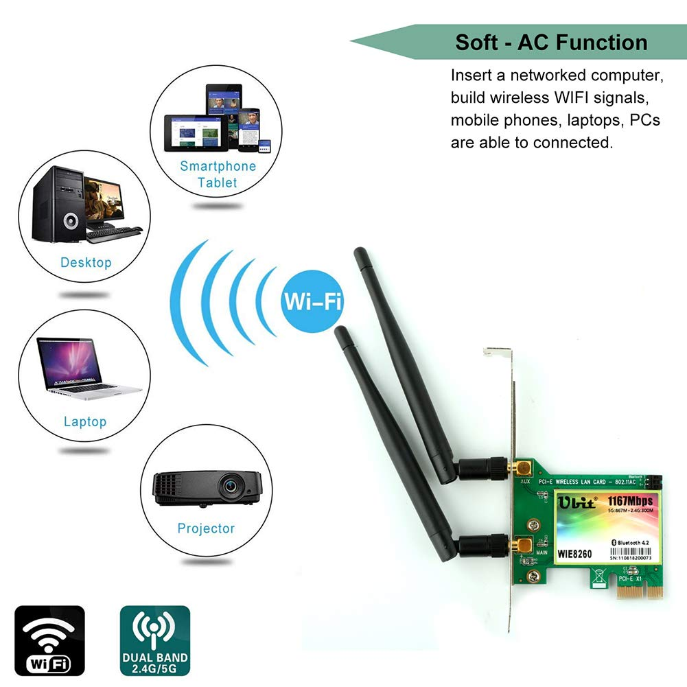WiFi Card AC 1200Mbps,Wireless Network Card,Ubit 8260 Wireless Network Card with Bluetooth 4.2 Network Server Adapter,Dual-Band 5G/2.4G,PCI-E Wireless WI-FI Adapter Network Card for PC-Shipped From US by Ubit (Image #4)