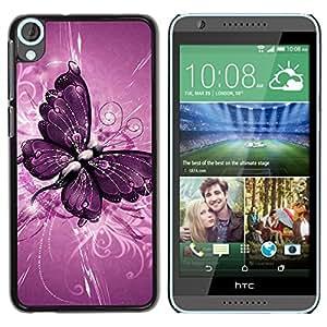 iBinBang / Funda Carcasa Cover Skin Case - Pintura de la mariposa patrón floral púrpura - HTC Desire 820