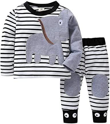 Newborn Infant Baby Boys Girls Elephant Striped Print T-Shirt Tops Set Clothes
