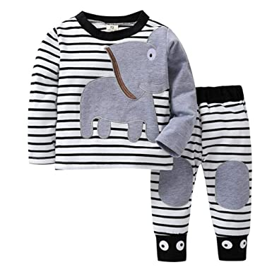 538454d8a6d2 Amazon.com  2019 Cute Baby Pants Set Newborn Clothes on Sale for 0-24 months  Elephant Striped Tops+Pants Outfits Clothing Set  Clothing