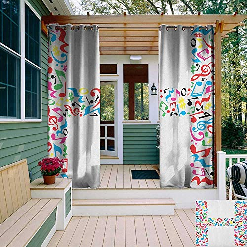 leinuoyi Letter H, Outdoor Curtain Ties, Communication Tool Writing Language Element H Designed in Musical Notes Print, for Patio Waterproof W108 x L96 Inch Multicolor