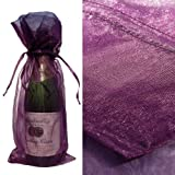 10x Purple Bottle and Wine Organza Favor Gift Bags 6.5×15 inch ($0.94 each), Health Care Stuffs