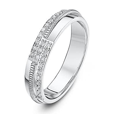 Theia 9ct Yellow Gold Court Shape 0.1ct Round Diamond Channel Set 4mm Eternity Ring Wp2cqQn4OT