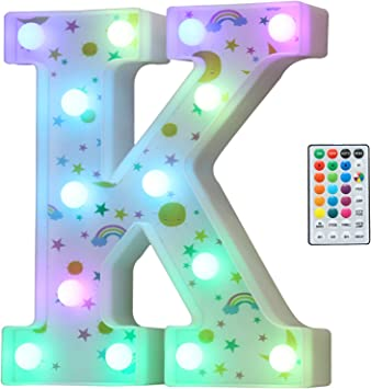 Colorful LED Marquee Letter Lights, 18 Colors Changing Light Up Rainbow Moon Star Cloud Decorative Letter Sign with Remote, Girl's Gifts Birthday Party Kid's Room Children Bedroom Decor -Letter K