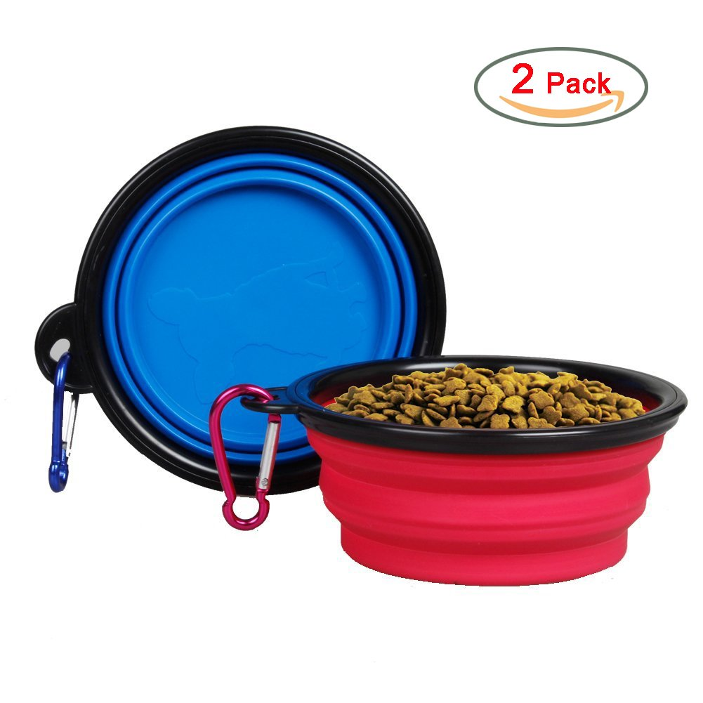 2pcs Menpet® Collapsible Pet Travel Bowl Water Feeder Bowl Dog Cat Portable Bowl