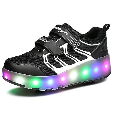 813823c3bd520f Amazon.com | YSNJL Kids Boys Girls High-Top Shoes LED Light Up Sneakers  Single Wheel Double Wheel Roller Skate Shoes | Sneakers