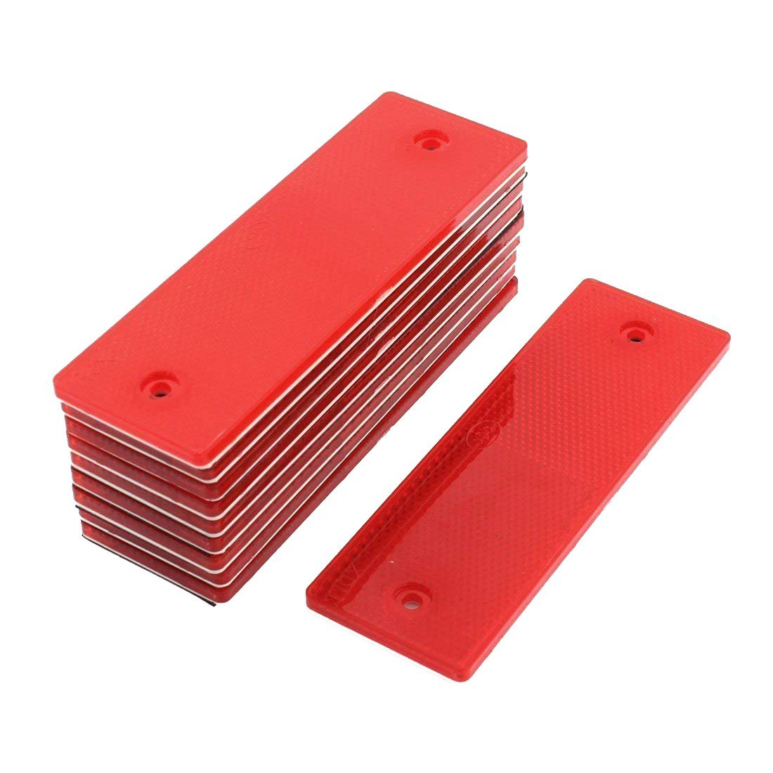 Sydien Red Rectangular Stick-On/Screw-Mount Reflector with Chrome Plastic Trim for Trucks,Trailers, RVs and Buses 10 Pack